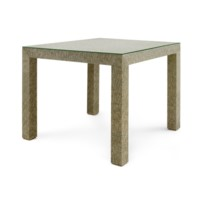 Valentina Marled Grasscloth Game Table, Slate Gray