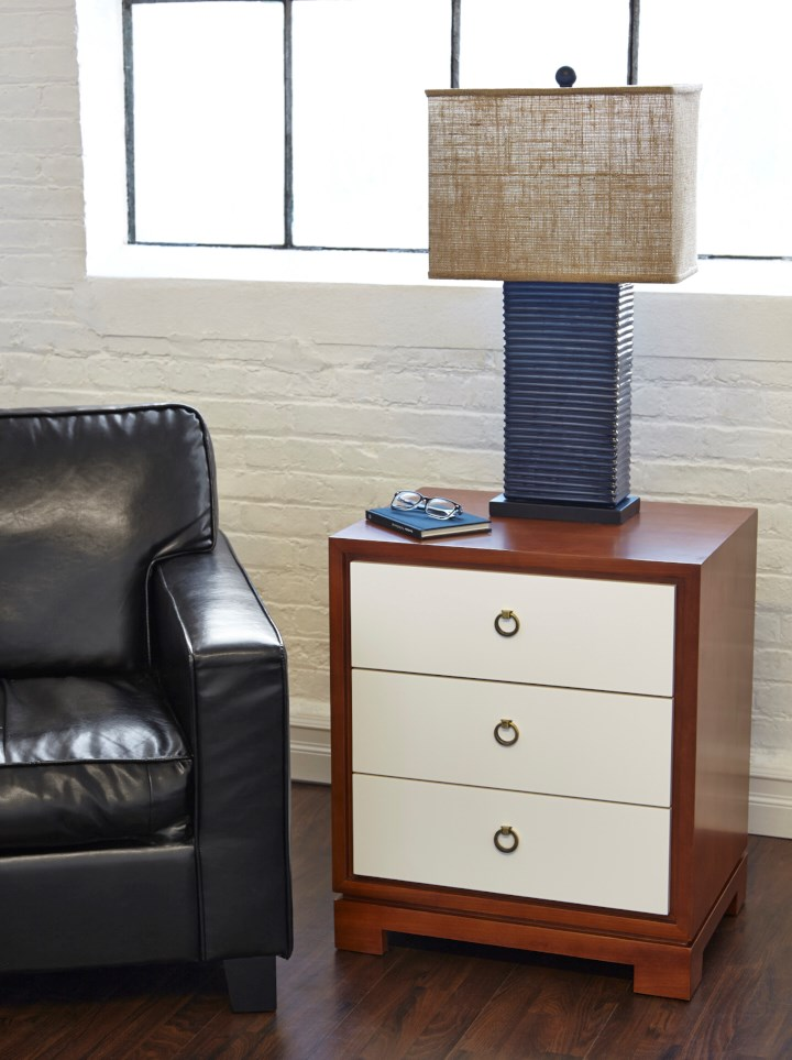 Lacquered Birch and Veneers, Stained Interior with Full Extension Glides, Antique Bronze Finish Ring Pull.