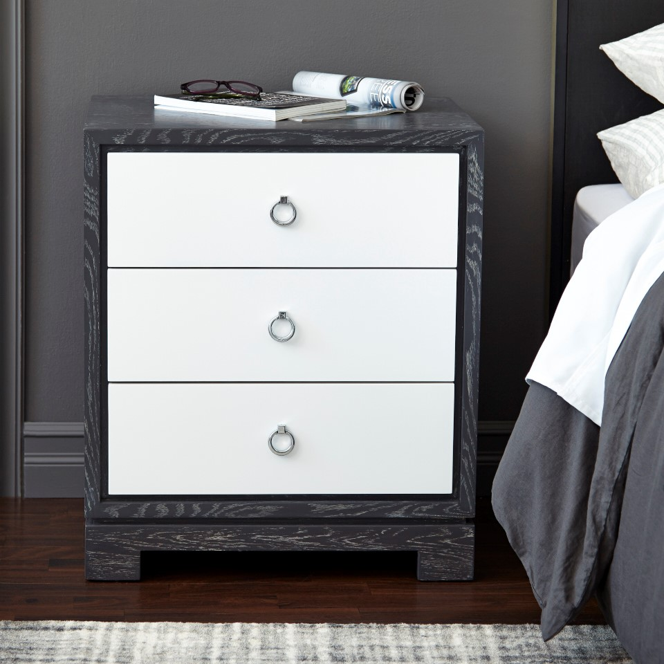 Berkeley 3 Drawer Side Table w Chrome Pulls Gray Bungalow 5