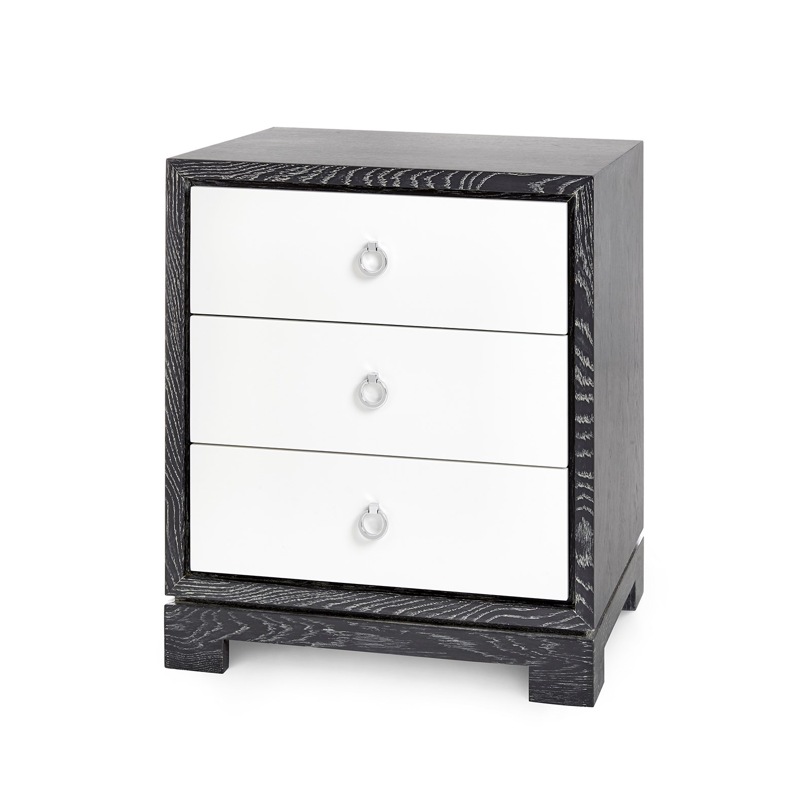 berkeley 3 drawer side table w chrome pulls gray bungalow 5 bungalow 5 white lacquered
