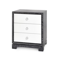 Berkeley 3-Drawer Side Table w/ Chrome Pulls, Gray