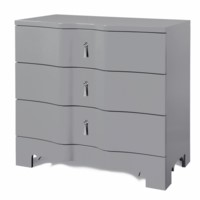 Brigitte 3-Drawer Side Table, Gray
