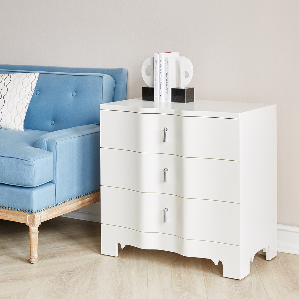 Brigitte 3 Drawer Side Table White Bungalow 5
