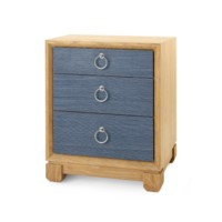 Calvin 3-Drawer Side Table, Navy Blue
