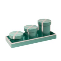 Chiffany  Round Canisters with Tray, Turquoise