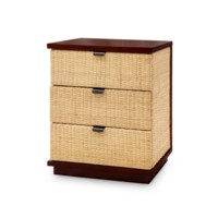 Cosmopolitan 3-Drawer Side Table, Mahogany