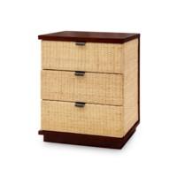 Cosmopolitan 3-Drawer Side Table, Mahogany