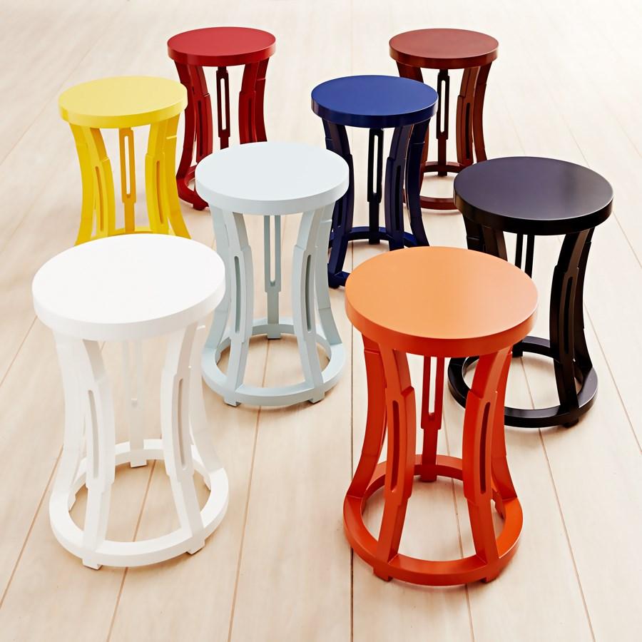 HOURGLASS STOOL/SIDE TABLE, POWDER BLUE