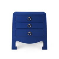 Jacqui 3-Drawer Side   Table, Navy Blue