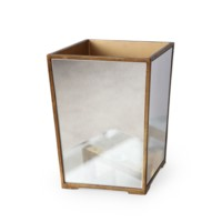 Marie Waste Bin, Antique Mirror & Gold