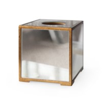 Marie Tissue Box, Antique Mirror & Gold