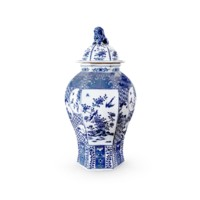 Palace 6-Sided Temple Jar, Blue & White
