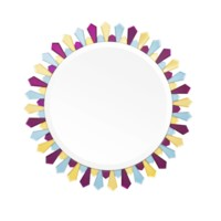 Petal  Mirror Large, Amethyst, Yellow, Blue