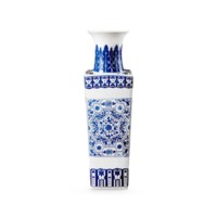 Summer Square Vase, Blue & White