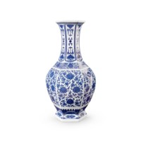 Summer 6-Sided Baluster Vase, Blue & White
