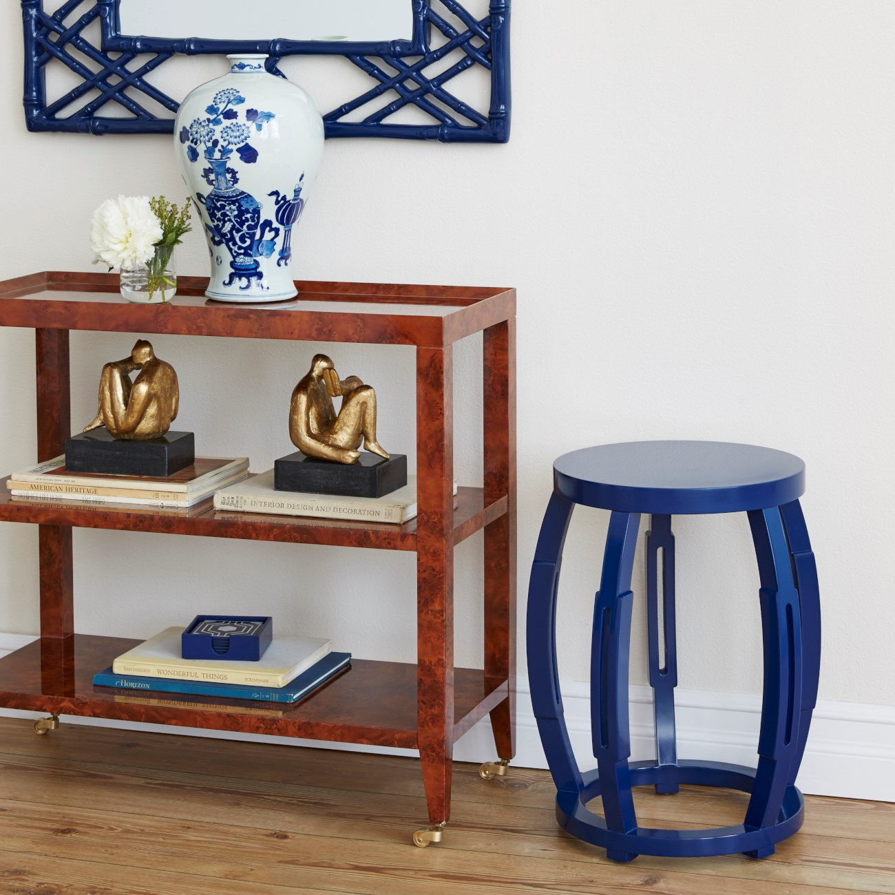 Taboret Stool Side Table Navy Blue Bungalow 5