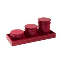 Tartier Round Canisters with Tray, Red