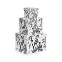 Toile Rectangle Nesting Boxes, Black, White