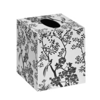 Toile Tissue Box, Black, White