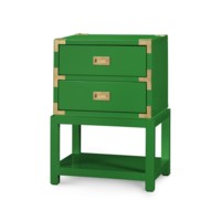 Tansu 2-Drawer  Side Table, Emerald Green