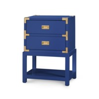 Tansu 2-Drawer Side Table, Navy Blue