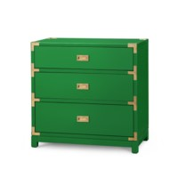 Victoria 3-Drawer Side Table., Emerald Green