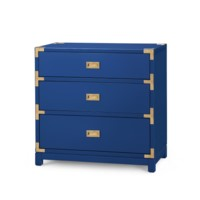 Victoria 3-Drawer Side Table, Navy Blue