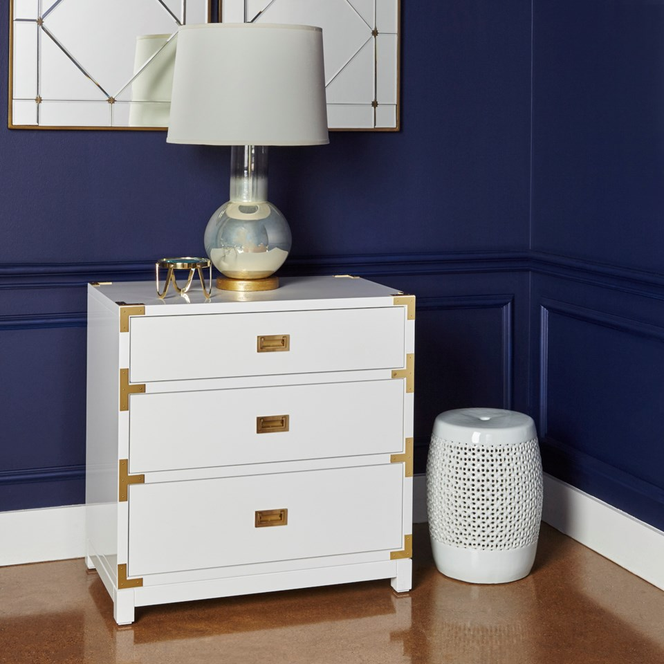 ... Victoria 3 Drawer Side Table, White. X