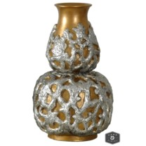 REEF VASE- SMALL | Silver and Gold Finish on Textured Resin