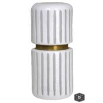 DURBAN STRIPE VASE- LARGE | White and Brass Finish on Glass
