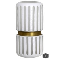 DURBAN STRIPE VASE- SMALL | White and Brass Finish on Glass