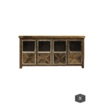 AYERS SIDEBOARD | Reclaimed Railroad Tie Wood with Clear Glass and Chrome Finish on Metal Trim | 4 D