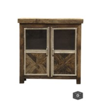 AYERS CABINET | Reclaimed Railroad Tie Wood with Clear Glass and Chrome Finish on Metal Trim | 2  Do