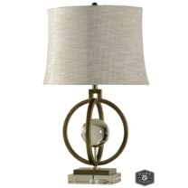 PARIS TABLE LAMP | Tin and Gold Finish on Metal Body with Crystal Ball and Base | Softback Shade | 1
