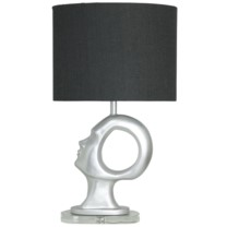 AIRES TABLE LAMP | Silver Finish on Resin Body with Crystal Base | Female Left Facing Head | Hardbac