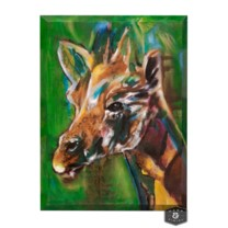 MARA CANVAS ART | Hand Painted Watercolor Giraffe | Angled 2 inch  Gallery Wrap