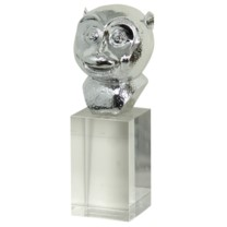 MONKEY BUST SCULPTURE | Chrome Finish on Resin Statue with Crystal Stand